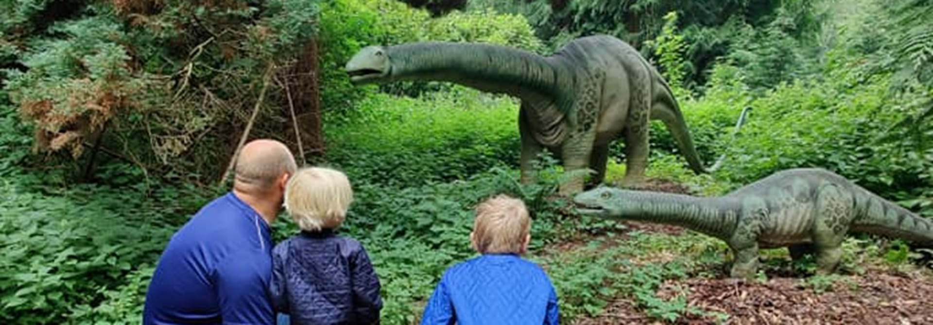 Magne Kigger På Dinoer Med Familien